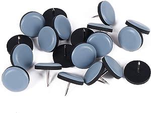 GINOYA Teflon Furniture Sliders, 20pcs 1inch Reusable Furniture Glides with Nail for Carpet Tile Hardwood (Round)