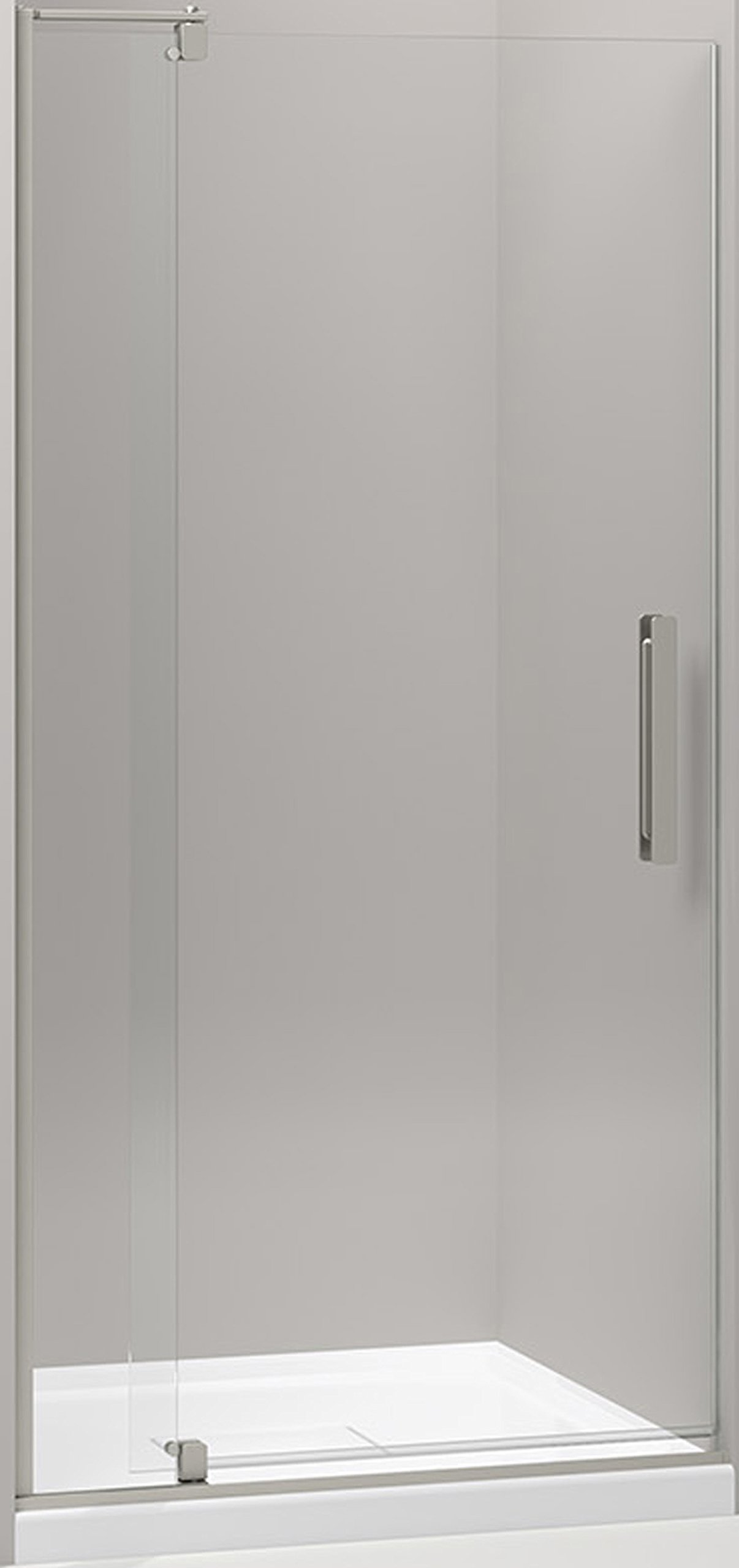 KOHLER K-707510-L-BNK Revel Pivot Shower Door with 1/4'' Thick Crystal Clear Glass, 70 x 31-1/8 x 36'', Anodized Brushed Nickel