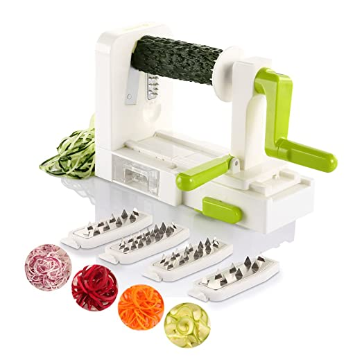 Spiralizer Vegetable Slicer, Zanmini Foldable Spiral Slicer, Strongest-and-Heaviest Duty Veggie Pasta Spaghetti Maker for Healthy Low Carb/Paleo/Gluten With Extra Blade Caddy, Best mothers day gifts