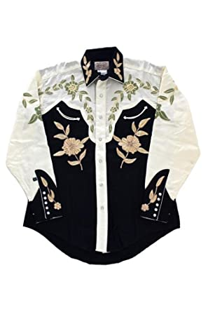 0576025e Rockmount 2-Tone Floral Embroidered Western Shirt 6869-2TONE-Black-S at  Amazon Men's Clothing store: