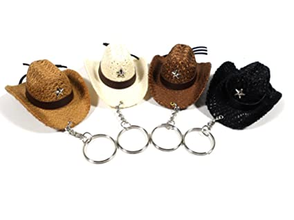 Amazon.com: Mix Marche Keyring White Black Brown Cowboy Hat ...