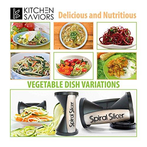 Spiral Slicer Vegetable Zoodle Spiralizer - Veggie Noodle Maker Pasta Cutter - With Kitchen Peeler Bundle by Kitchen Saviors (Image #5)