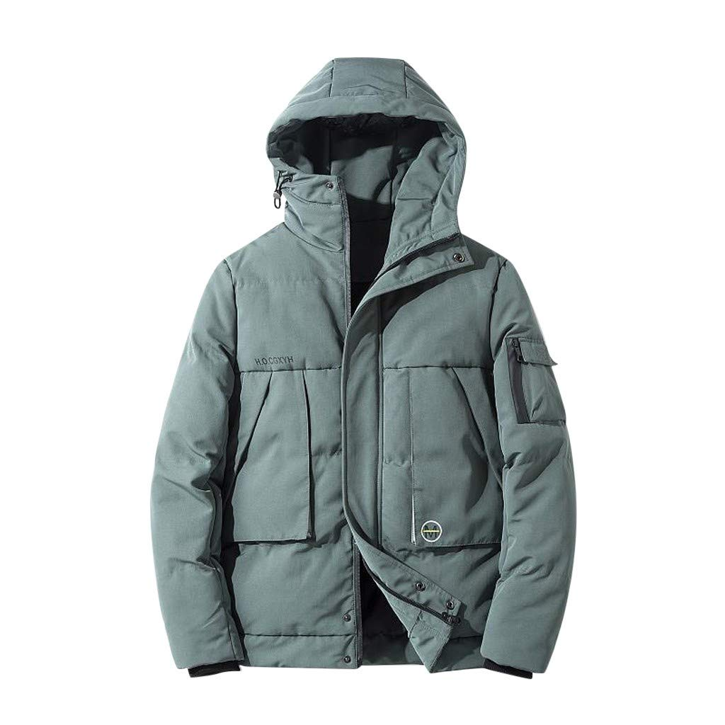 Allywit-Mens Lightweight Packable Cotton-Padded Warm Parka Puffer Down Jacket with Hood Winter Coats Plus Size Green by Allywit-Mens