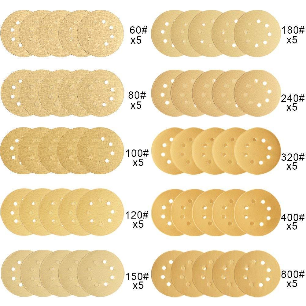 AUSTOR 50 Pieces Gold Sanding Discs 5 Inch 8 Holes Dustless Hook and Loop 60//80// 100//120// 150//180// 240//320// 400//800 Grit Sandpaper Assortment for Random Orbital Sander