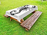 Ambesonne Zodiac Scorpio Outdoor Tablecloth, Monochrome Sign Sketch of a Scorpion Tattoo Animal Horoscopes Theme, Decorative Washable Picnic Table Cloth, 58 X 84 Inches, Charcoal Grey White