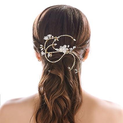 Handcess Yean oro strass matrimonio pettine cristallo vite pettini per  capelli mollette fiore flora pezzo capelli d73b160dca30
