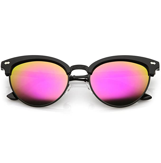 d01ecdb2855b2 sunglassLA - Women s Cat Eye Sunglasses Horned Rim Half Frame Oval Color  Mirrored Lens 54mm (