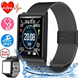 Smart Watch Waterproof Sport Fitness Tracker Fathers Day Birthday Gifts for Men Women with Heart Rate Blood Pressure Sleep Monitor Wearable Wristband Watch Activity Tracker Compatible iOS Android