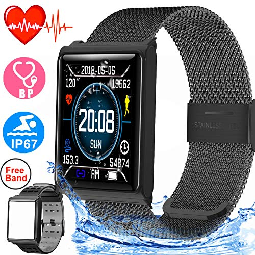 Smart Watch Waterproof IP67 Sport Fitness Tracker for Women Men with Heart Rate Blood Pressure Sleep Monitor Calorie Wearable Wristband Watch Activity Tracker Compatible iOS Android