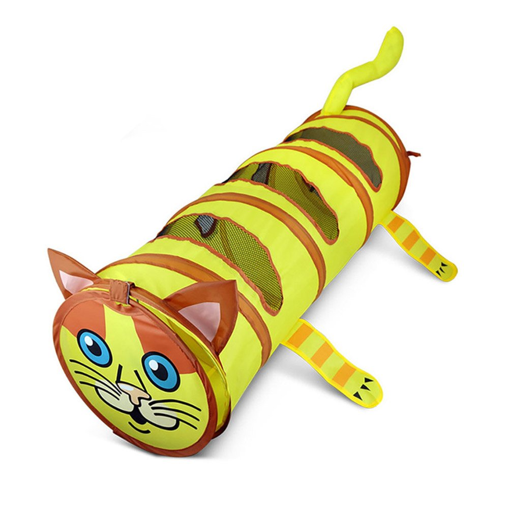 Yunt Cat Tunnel Collapsible Cute Cat Shaped Tunnel Tube with Three Peek Holes, Pet Toy for Cat Puppy Kitty Rabbits