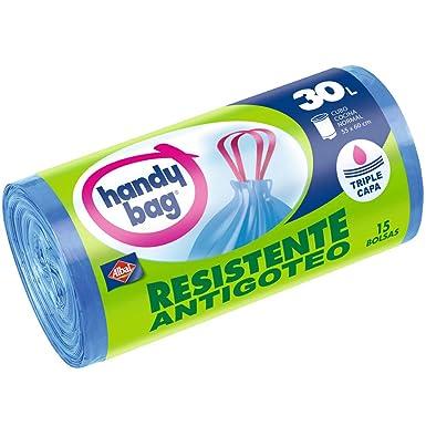 Handy Bag Bolsas de basura antibacterias, 30 l, resistentes, autocierre, antigoteo, 15 unidades