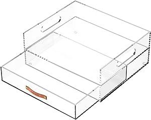 EXPUTRAN Acrylic Office Desk Organizer Drawer + Inbox, Desktop Organizer,Clear