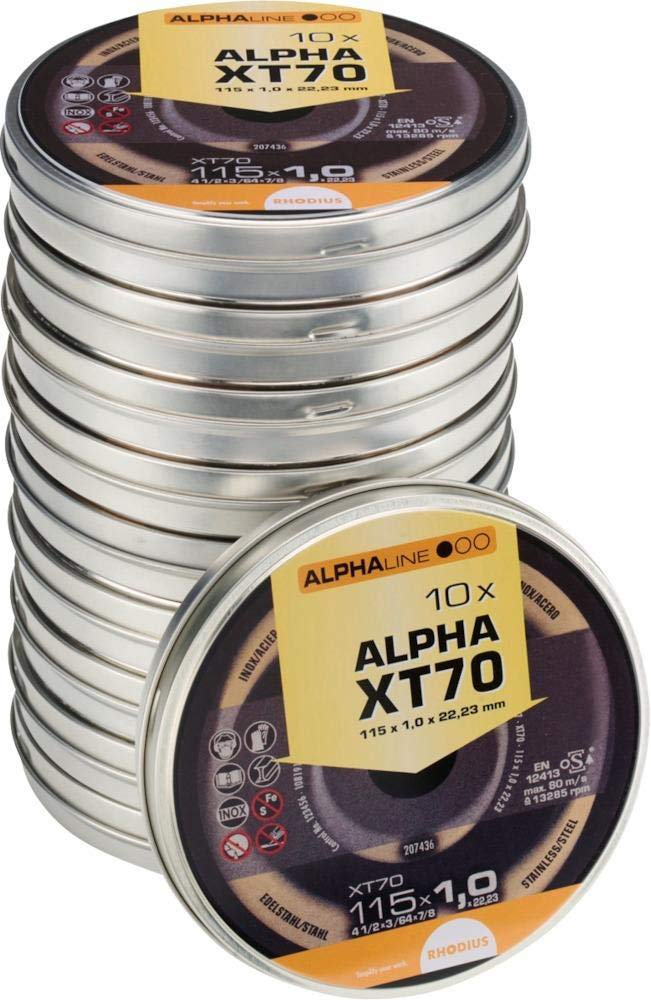 Rhodius 207809 Trennscheiben Edelstahl 125 x 1.0 mm, 10 Stuck XT 70 Box mit 10 Scheiben