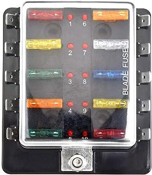 DC12V-24V 10 Way Blade Fuse Box Holder LED Warning Light Kit for Car Boat Marine