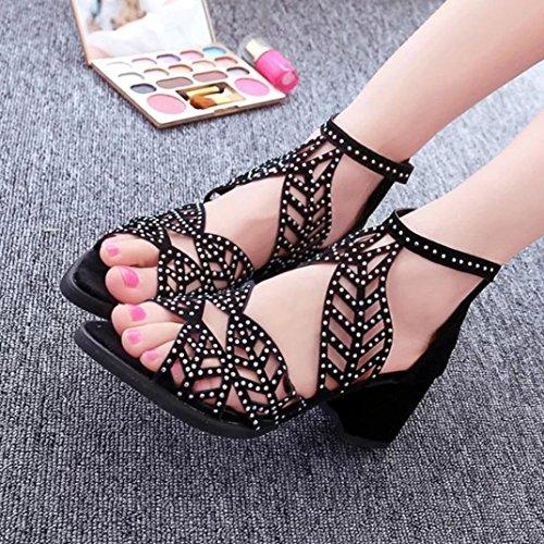 Sandales Compensées Inkach Femmes - Mesdames Bohème Été Sandales Plate-forme À Talons Hauts Chaussures Noires