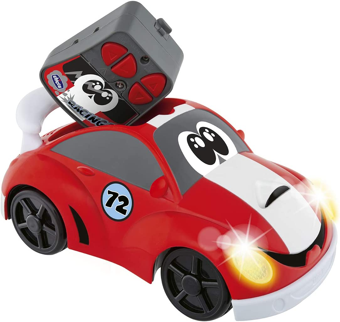 Chicco Johnny Coupé Racing - Coche radiocontrol infantil con mando de 4 direcciones teledirigido y luces de faro, color rojo