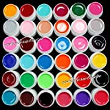 36 Colors Solid Pure Mix Color UV Builder Gel Acrylic Set for Nail Art Tips by RY