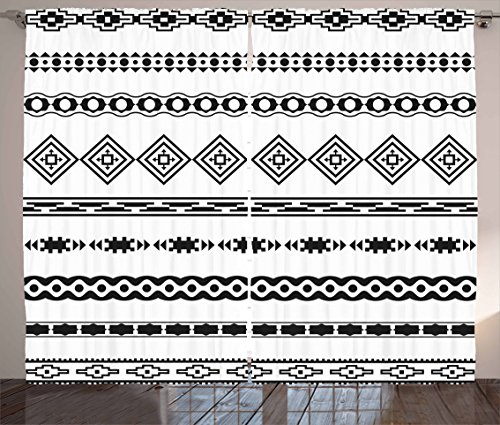 "Ambesonne Tribal Curtains, Ethnic Abstract Geometric Forms Stripes with Aztec Effects Folkloric Design Print, Living Room Bedroom Window Drapes 2 Panel Set, 108"" X 84"", Black White"