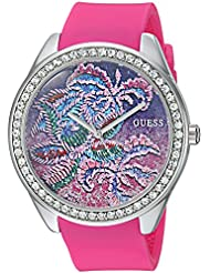 GUESS Womens Quartz Stainless Steel and Silicone Casual Watch, Color:Pink (Model: U0960L1)