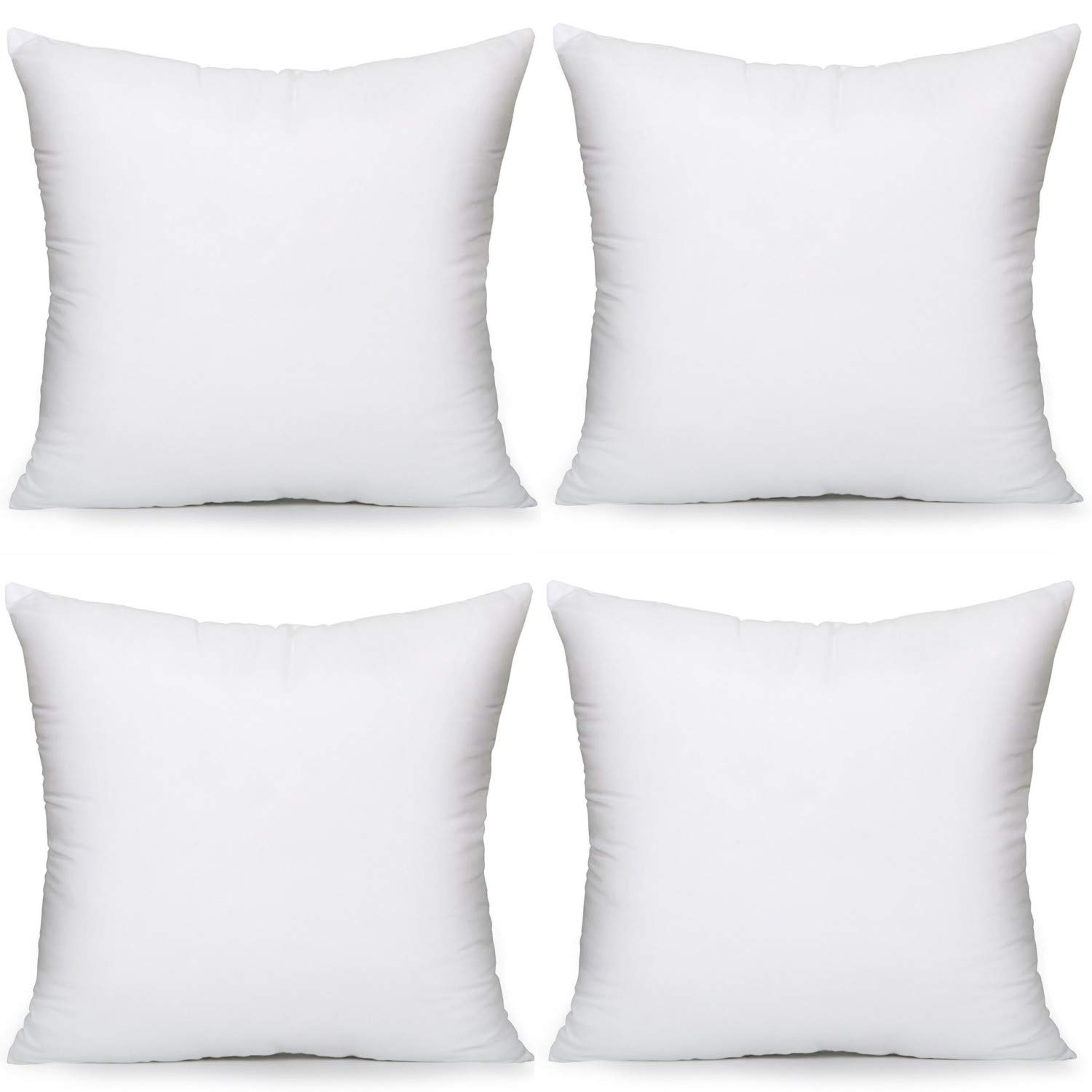 MoonRest - Pack of 4 - Synthetic Down Pillow Insert, Square Pillow Form, Sham Stuffing for Decorative Throw Pillow Covers, Sofa Couch Cushion and Bed - Set of Four 22'' X 22''