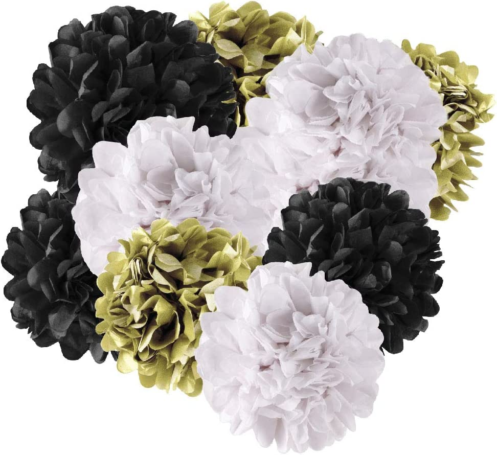 Andaz Press Hanging Tissue Paper Pom Poms Party Decor Trio Kit with Free Party Sign, Gold, Black, White, 6-Pack, for New Year's Cheers Bitches Bachelorette Shower Decorations