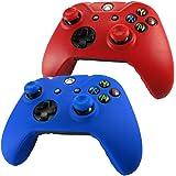 Pandaren® Pelle cover skin per il Xbox One controller x 2 + pollice presa x 4 (rosso + blu)