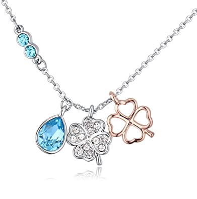 """70b6b6f1d Necklace for Women Girls,""""Duo Blessing"""" Double Clover Dainty Swarovski  Crystal Pendant"""