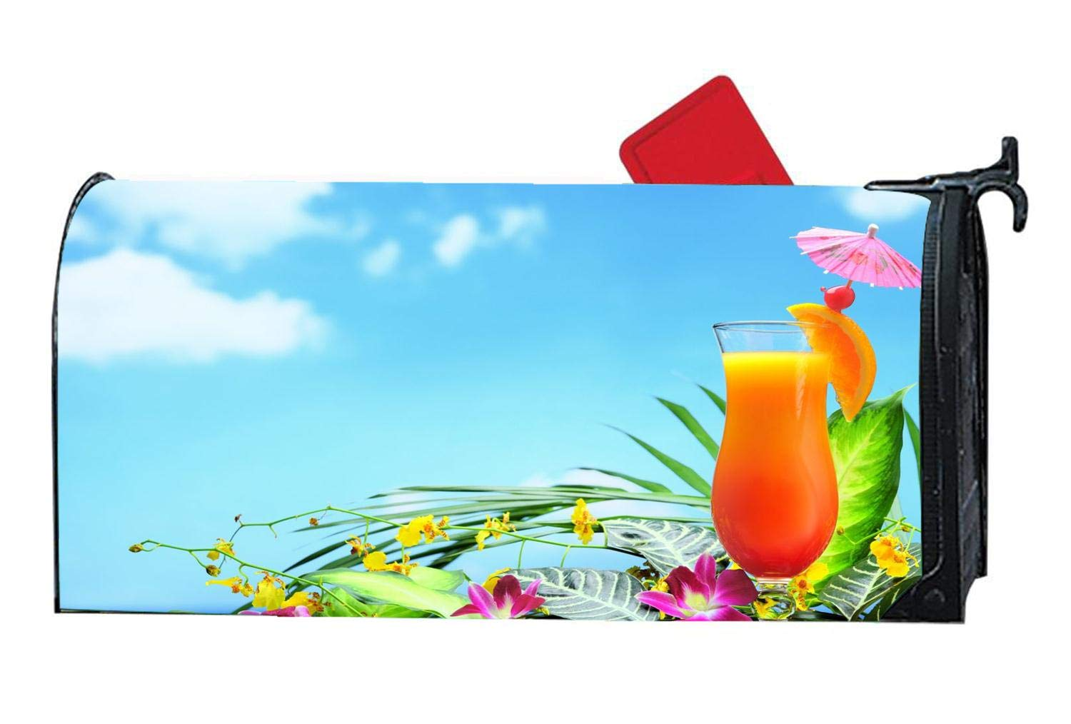 Orange Sunset Heaven Personalized Mailbox Cover Magnetic Summer Beach for Standard Mailboxes