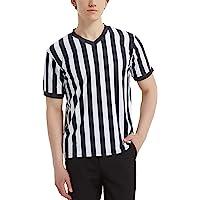 TopTie Artículos Deportivos Camiseta de Árbitro para Hombre, Camiseta con Cuello de Pico, Rayas Clásicas en Blanco y…