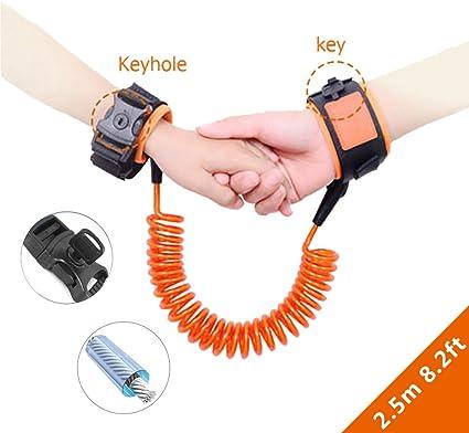 Bracelet anti-perte confortable pour b/éb/é 2.5M Anti-perdu Enfant Barcelet,Laisse Enfant Poignet de 360 /° Rotation Harnais de S/écurit/é Orange