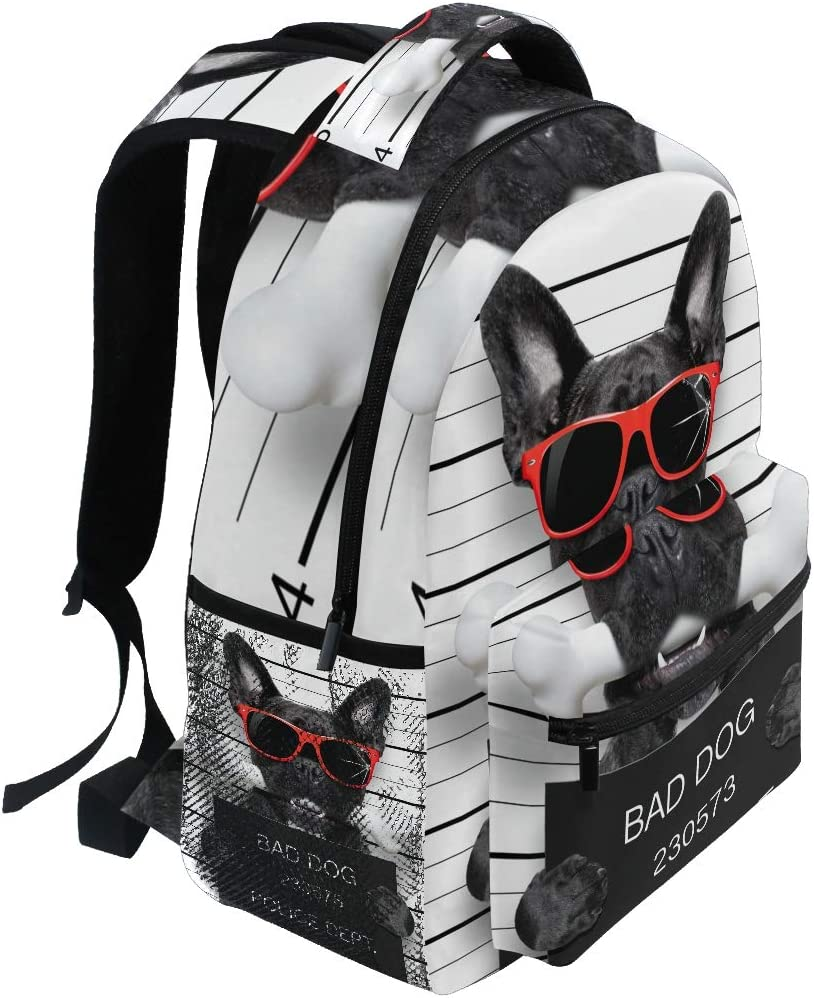 Abdominal Muscle French Bulldog Beach Cool Personality 17 Inch College School Computer Bag Laptop Backpack with USB Charging Port for Women Men College Student Travel Outdoor Camping Daypack