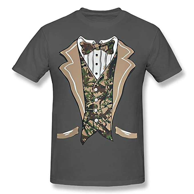 bf8a8ccf6 Image Unavailable. Image not available for. Color: fresh tees Camo Tuxedo  with Bowtie T-Shirt ...