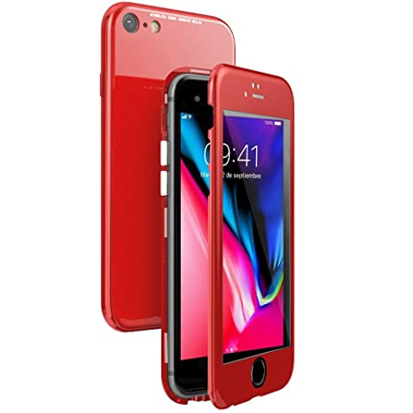 WindCase Funda iPhone 7, Funda iPhone 8, 360 Grados Cuerpo Completo Protección + Cristal Templado, 2 en 1 Duro Lustroso PC Carcasa con Magnética para ...