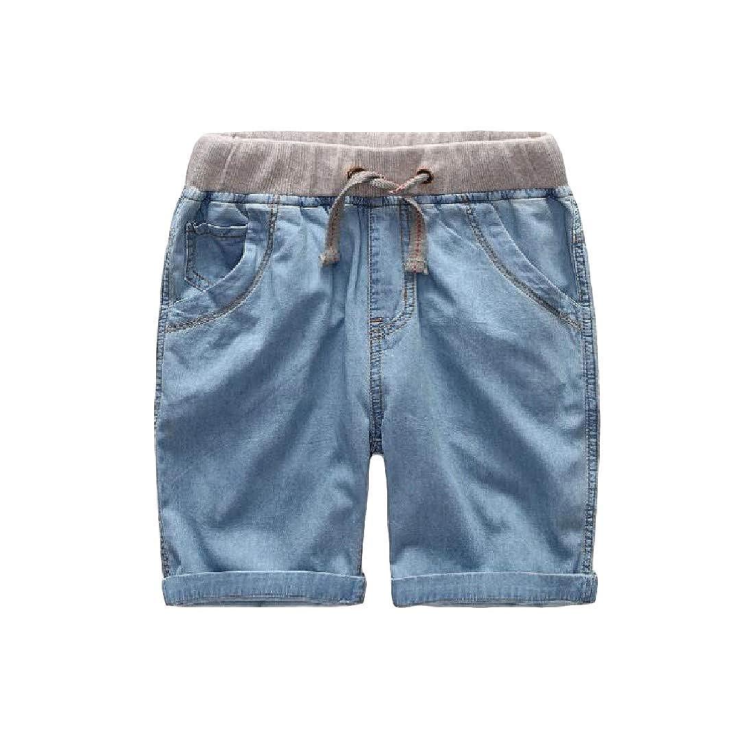 Macondoo Boys Classical Jean Denim Elastic Waist Cotton Shorts