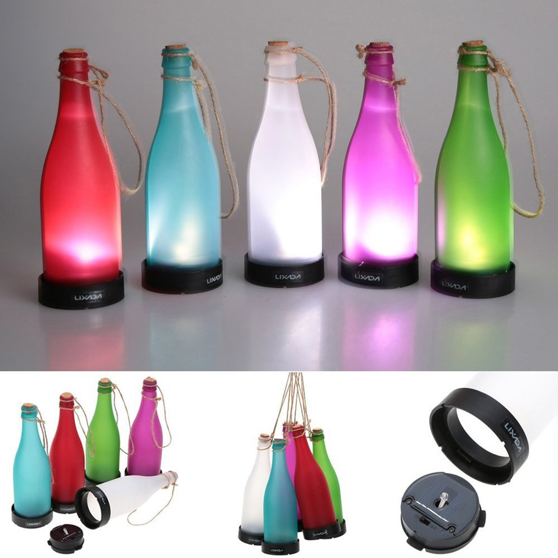 Amazon.com : AngelaKerry LED Solar Powered Bottle Light Hanging Patio Lamp Flame Effect Garden Yard Hanging Lamp - Red : Garden & Outdoor