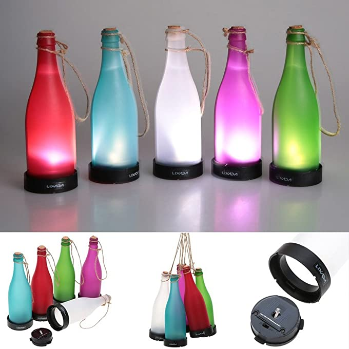 Amazon.com : AngelaKerry LED Solar Powered Bottle Light Hanging Patio Lamp Flame Effect Garden Yard Hanging Lamp - Green : Garden & Outdoor