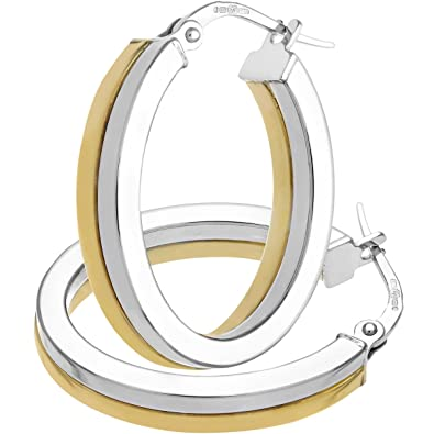 Citerna Women's 9 ct Yellow Gold Classic Square Tubed Oval Hoop Earrings fgSwCS9D1Z
