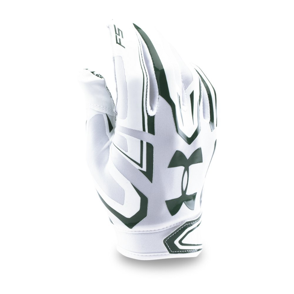 Under Armour Men's F5 Football Gloves, White/Forest Green, Small