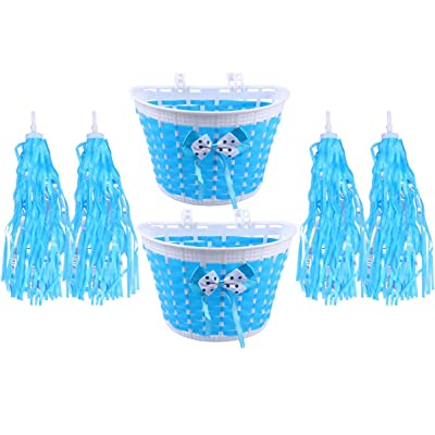 BESPORTBLE 6pcs Kids Bike Basket Streamers Set Pink Bicycle Handlebar Tassel Ribbons Riding Bike Mesh Basket for Kids Children Girls Blue : Sports & Outdoors [5Bkhe0304026]