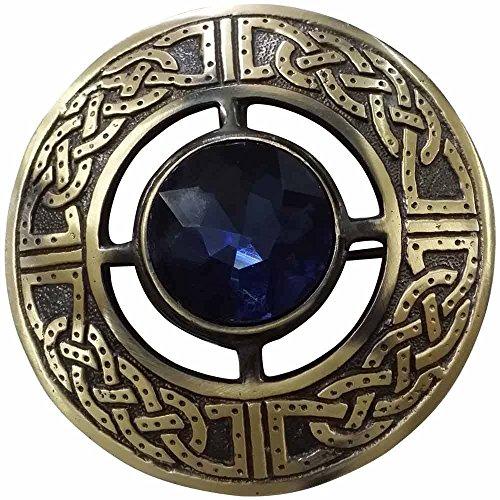 AAR Men's Scottish Celtic Kilt Fly Plaid Brooch Antique Plated in Stones (3 Brooch Stone)