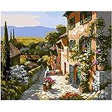 """pintura de bricolaje por números kits Pintar pintura al óleo pintada a mano para adultos pintada a mano-rural 16""""x20"""" (sin marco)"""