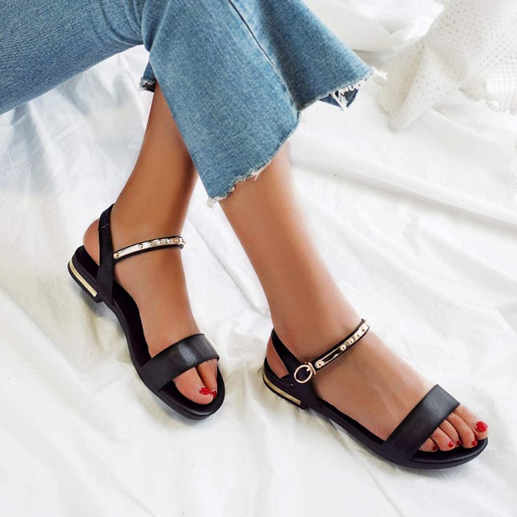 Womens Girls Rivet Flat Leather Sandals Comfy Slingback Open Toe Ankle Strap Buckle Sandals Retro Roman Beach Dress Shoes
