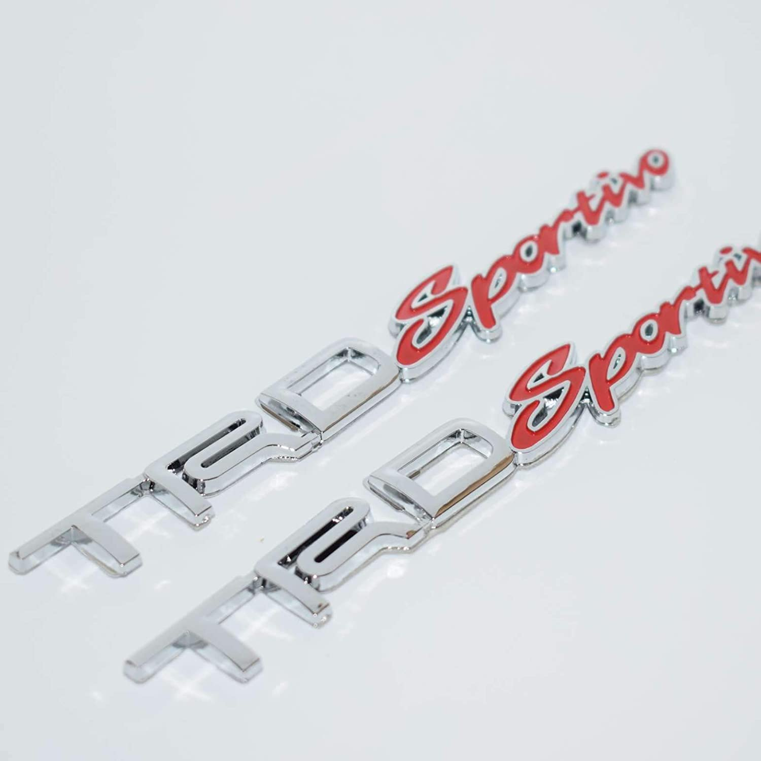 2 Pieces 2267RD Sportivo Red Chrome Badge Emblem 3D Car Trunk Side Auto Logo Fender Adhesive Replacement Decal Sticker Truck Van Sports Car Abs Plastic Diy TOTUMY