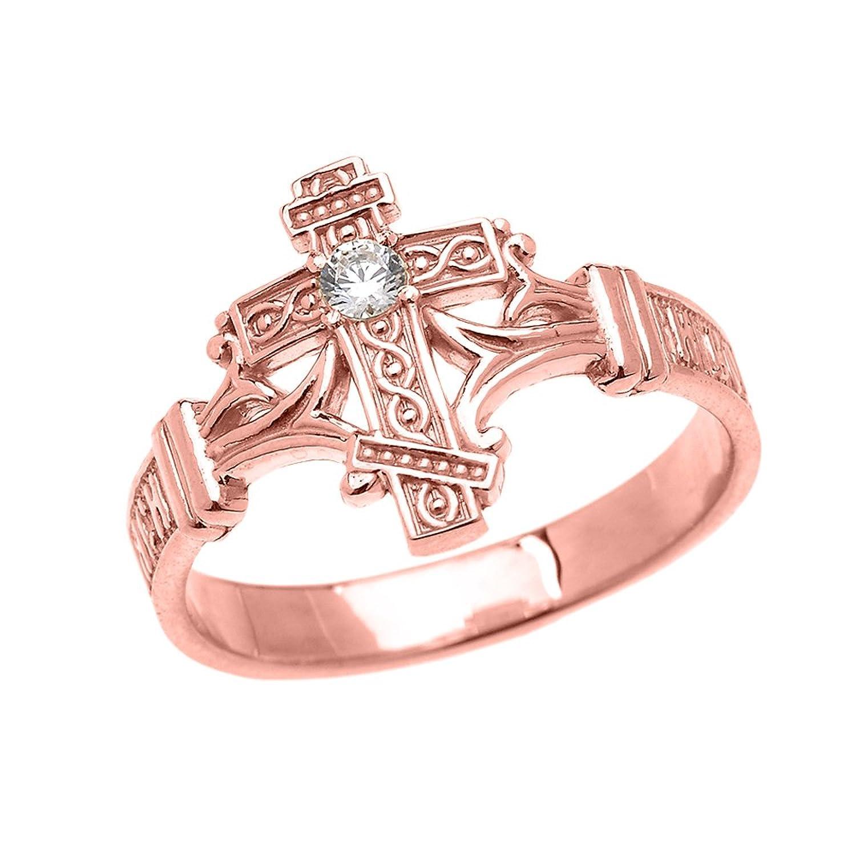 Amazon.com: 14k Rose Gold Solitaire Cubic Zirconia Orthodox Cross ...