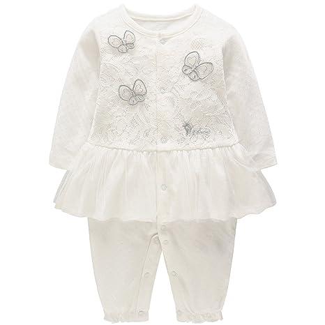 ba746ba17704b Bébé Filles Barboteuses Dentelle Tutu Combinaisons en Coton Pyjama à  Manches Longues 6-9 Mois