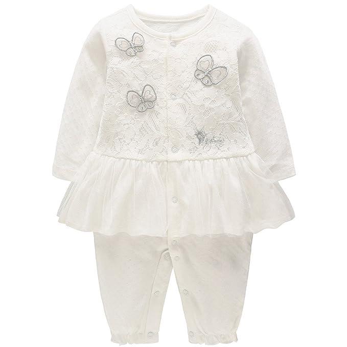 JiAmy Bebé Niñas Mamelucos de Algodón Pijama Cordón Tutú Pelele Princesa Monos de Manga Larga 0-18 Meses: Amazon.es: Ropa y accesorios