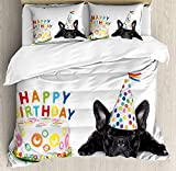 IDOWMAT Kids Birthday Twin Duvet Cover Sets 4 Piece Bedding Set Bedspread with 2 Pillow Sham, Flat Sheet for Adult/Kids/Teens, Sleepy French Bulldog Party Cake with Candles Cone Hat Celebration Image