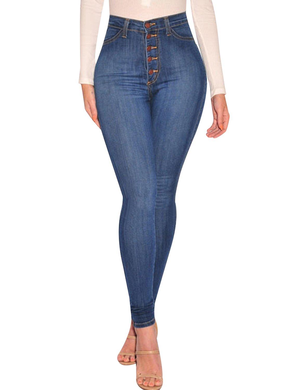 Burvogue Women's High Waist Stretch Butt Lifting Jeans 90105