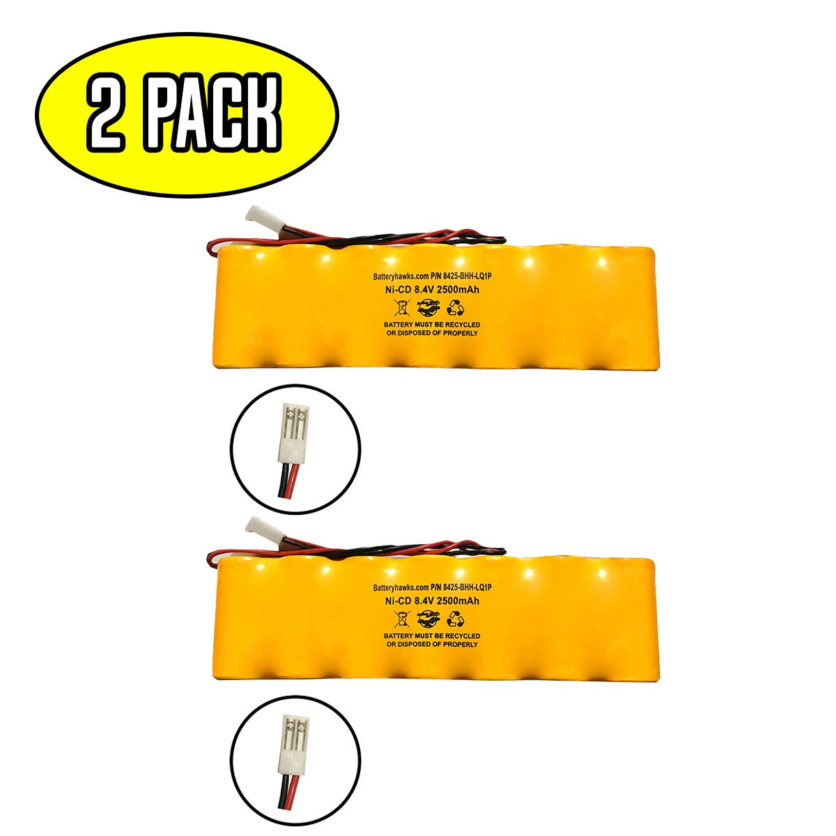 (2 Pack) Dual-Lite 93011385 Hubbell Battery Exit Sign Emergency Light Ni-CD Battery Pack Replacement 8.4v 2500mah