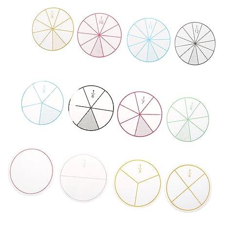 Homyl 12pcs Plástico Fracciones Numeradas Círculos Fichas Matemáticas Número Juguete